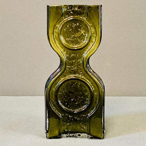 Riihimaki Retro Olive Green Glass Vase image-1