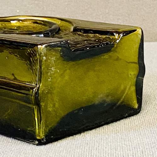Riihimaki Retro Olive Green Glass Vase image-4