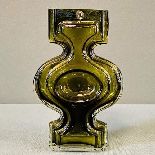 Riihimaki Emma Retro Olive Green Glass Vase image-1