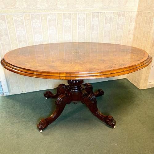 19th Century Large Tilt Top Inlaid Walnut Loo Table image-1