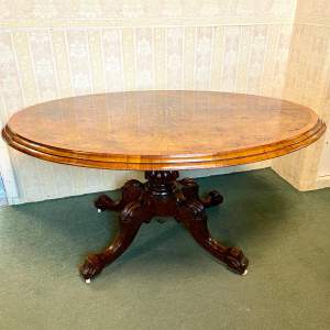 19th Century Large Tilt Top Inlaid Walnut Loo Table