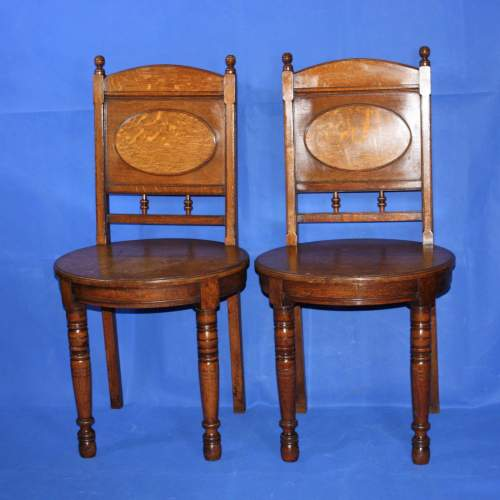 A Fine Pair of Arts and Crafts Oak Hall Chairs image-1