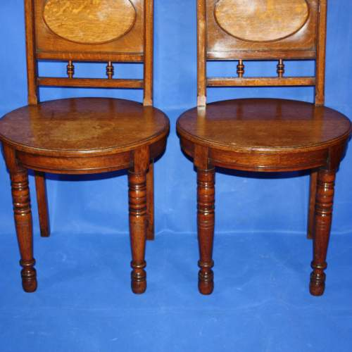 A Fine Pair of Arts and Crafts Oak Hall Chairs image-2