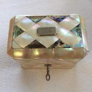 Antique Mother of Pearl and Abalone Shell Scent Bottle Casket