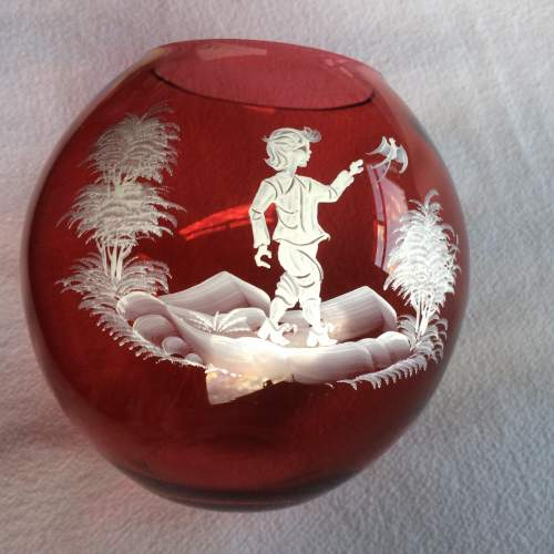 Pair of Early 20th Century Cranberry Glass Vases or Bowls image-2