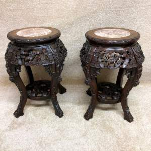 Pair of 19th Century Hardwood Urn Stands