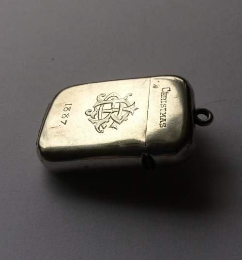 Sampson Mordan Victorian Christmas Silver Vesta Case image-2