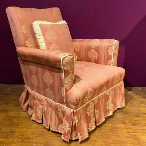 Small Victorian Upholstered Armchair with Cushion