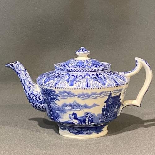 Cauldon Chariot Pattern Blue and White China Teapot image-1