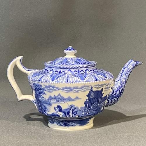 Cauldon Chariot Pattern Blue and White China Teapot image-2