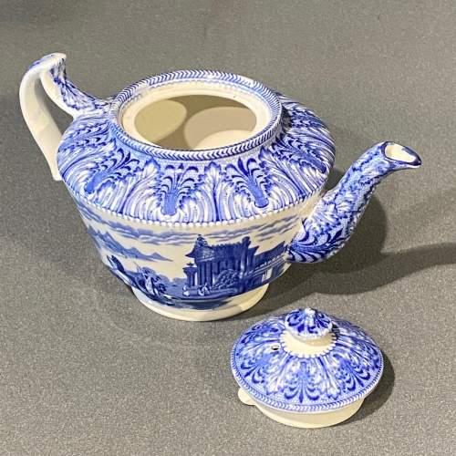 Cauldon Chariot Pattern Blue and White China Teapot image-3