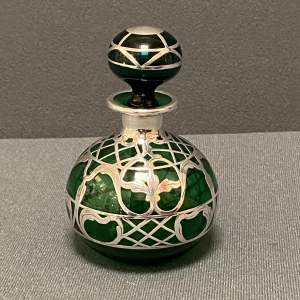 Art Nouveau Green Glass Perfume Bottle with Sterling Silver Overlay