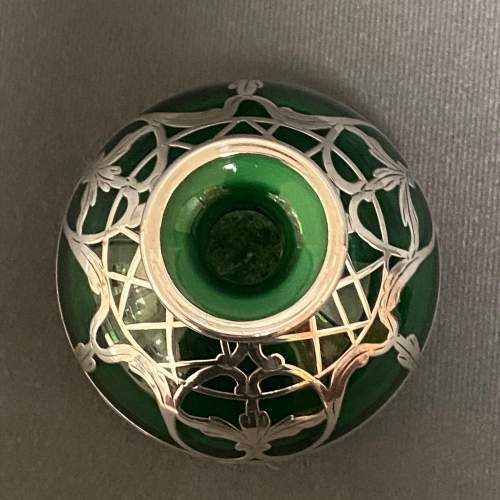 Art Nouveau Green Glass Perfume Bottle with Sterling Silver Overlay image-3