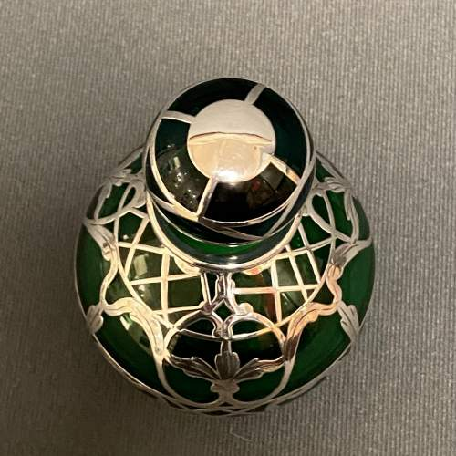 Art Nouveau Green Glass Perfume Bottle with Sterling Silver Overlay image-4