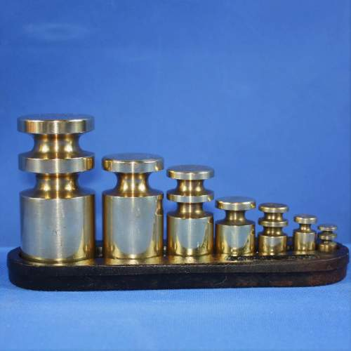 Set of Brass Weights on Iron Stand by Victor image-1