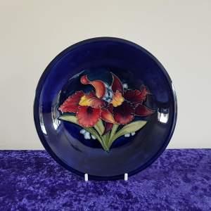 Moorcroft Pottery Dark Blue Orchid Pattern Dish