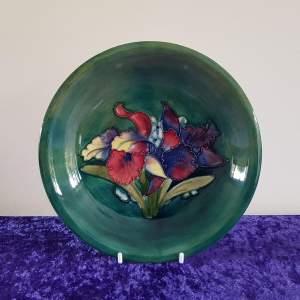 Moorcroft Pottery Green Orchid Pattern Dish