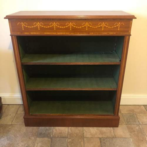 Edwardian Inlaid Mahogany Open Bookcase image-1
