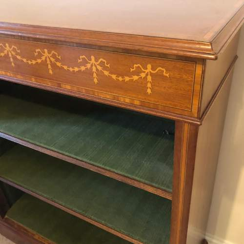 Edwardian Inlaid Mahogany Open Bookcase image-2
