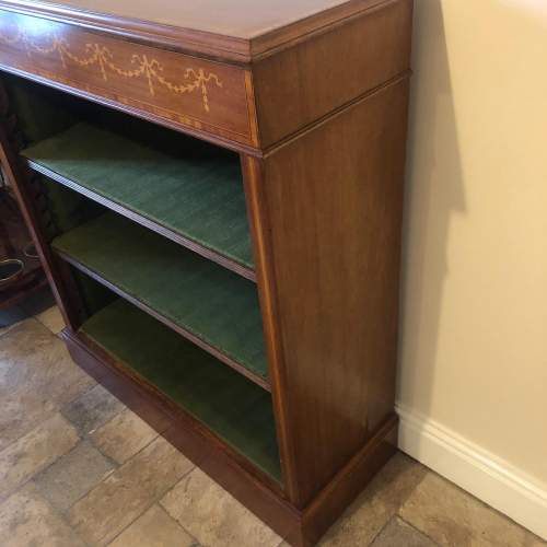 Edwardian Inlaid Mahogany Open Bookcase image-4