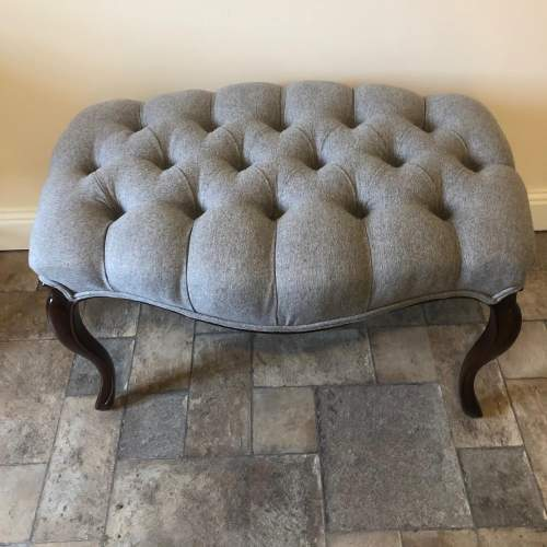 Victorian Deep Buttoned Stool with Cabriole Legs image-1