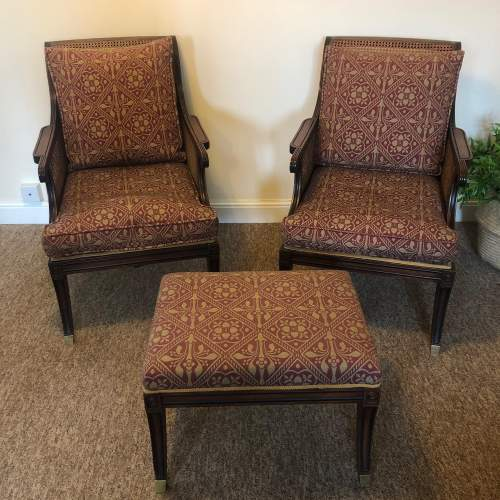 Pair of Regency style Mahogany Bergere Arm Chairs and Stool image-1
