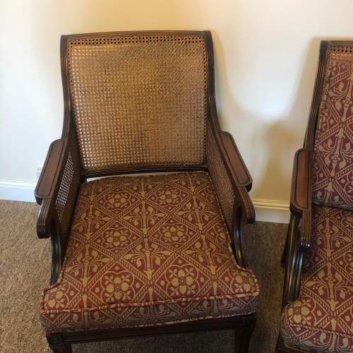Pair of Regency style Mahogany Bergere Arm Chairs and Stool image-2