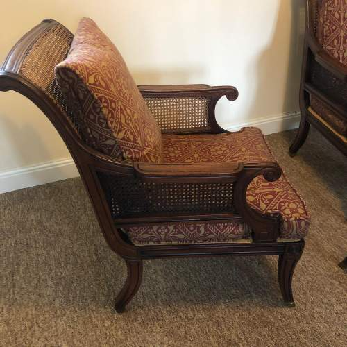 Pair of Regency style Mahogany Bergere Arm Chairs and Stool image-3