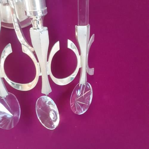 Gaetano Sciolari Design Pair of Crystal Nickel Wall Light Sconces image-6