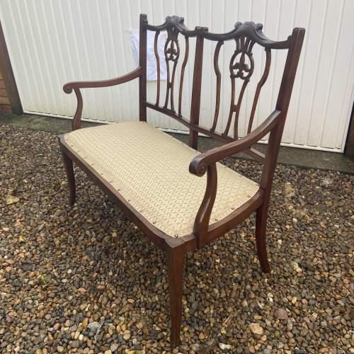 Edwardian Mahogany Frame Salon Sofa image-3