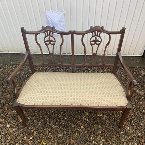 Edwardian Mahogany Frame Salon Sofa image-4