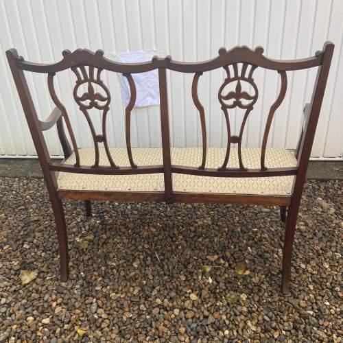 Edwardian Mahogany Frame Salon Sofa image-6