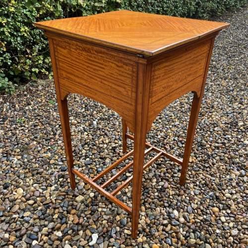 Lovely Edwardian Inlaid Satinwood Sewing Box image-1