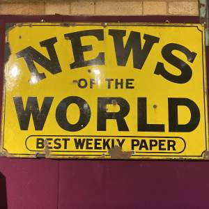 News of the World Enamel Steel Advertising Sign Mid 19th Century