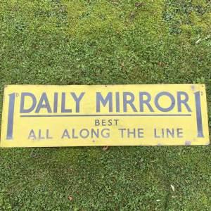Daily Mirror Railway Station Enamel Advertising Sign Circa 1910
