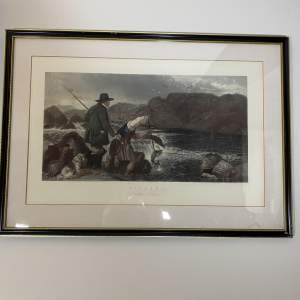 Large Print Fishing - Gaffing A Salmon by W. H. Simmons Circa 1850s