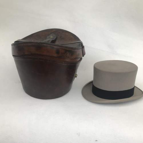 A Charming Victorian Leather Hat Case and Grey Top Hat image-1