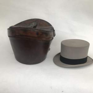 A Charming Victorian Leather Hat Case and Grey Top Hat