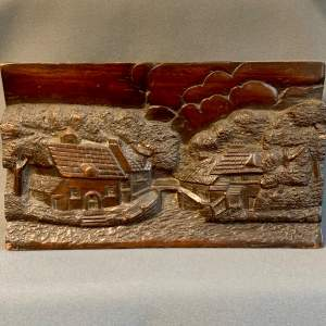 Late 19th Century Carved Oak Panel with Riverside Scene
