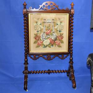 Victorian Rosewood Firescreen of Country House Proportions