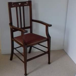Arts and Crafts Oak Elbow Dining Chair