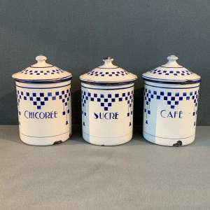 1930s Set Of Three French Enamel Storage Containers
