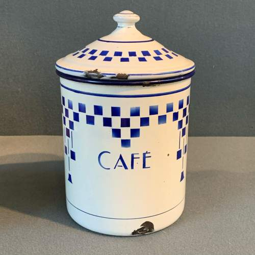 1930s Set Of Three French Enamel Storage Containers image-4