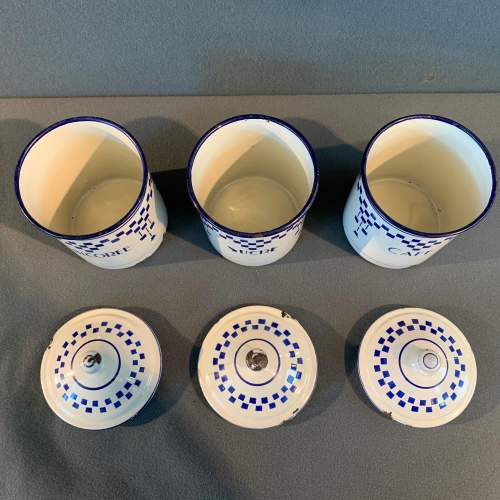 1930s Set Of Three French Enamel Storage Containers image-5