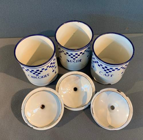 1930s Set Of Three French Enamel Storage Containers image-6
