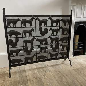 Mid 20th Century Ateliers Maroles Fire Screen in Wrought Iron