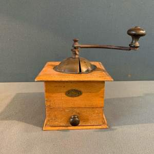 1930's French Peugeot Freres Wooden Coffee Grinder