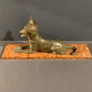 Art Deco French Spelter Dog on Alabaster Base