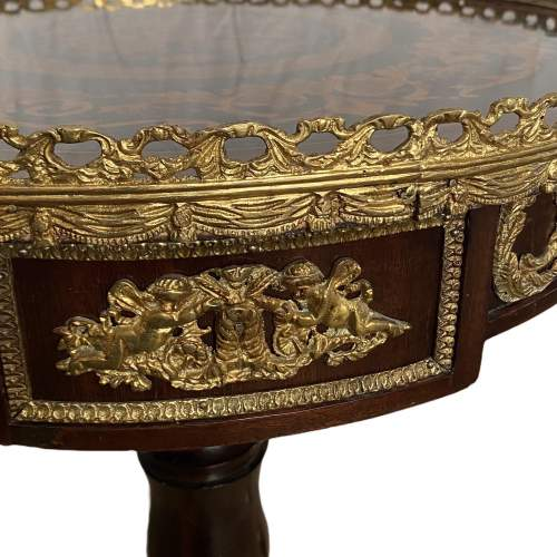 Late 19th Century French Gilt Metal and Marquetry Occasional Table image-3