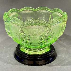 1930s Art Deco Uranium Glass Bowl on Stand